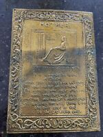 Hammered Brass Wall Plaque Antique Mother Art Nouveau Hanging Poem Arts & Crafts