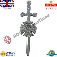 VIGILI DEL FUOCO Kilt Pin Finitura Cromata/spada celtica per kilt PIN FUOCO SOCCORSO departm