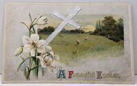 A Peaceful Easter Cross Lilies Pasture Sheep Sunrise Postcard A12