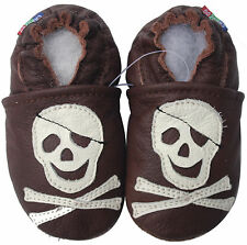 carozoo soft soled leather toddler shoes pirate dark brown 2-3y
