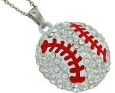 "Silver Baseball Necklace Plated Crystal Ball Sport Fan Mom Gift Coach 19"" USA"