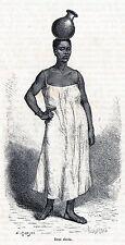 Antique print Africa / portrait woman / sklavin Afrika holzstich / stampa antica