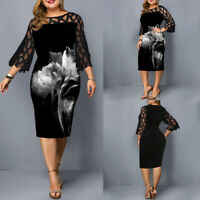 L-6XL Women's Plus-size Printed Dresses Lace Half Sleeves Party Evening Gown