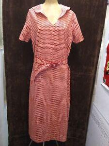 Vintage 1930's Red & White Cotton House Chore Farm Dress Size XL Excellent