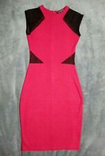 10 FRENCH CONNECTION red black dress bodycon fitted stretch designer sleeveless