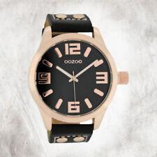 Relojes de pulsera unisex de oro rosa de cuero