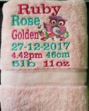 personalised BABY BIRTH KEEPSAKE bath towel - CUTE OWL  a gift to treasure
