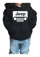 fm10 felpa cappuccio bambino/a JEEP logo bianco auto macchina fuoristrada SPORT