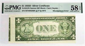 1935 D $1 Silver Certificate Fr#1613-N Misalignment Error Note PMG Ch AU58 EPQ