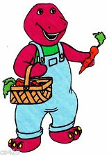 "6.5""  Barney on a farm animal veggies fabric applique iron on character"