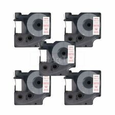"""5pk Red on White Label Tape Compatible for DYMO 53715 D1 24mm 1"""""""