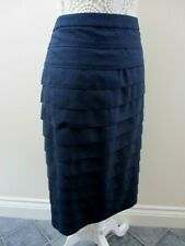 Laura Ashley skirt size 20 tiered navy straight flapper style smart unusual