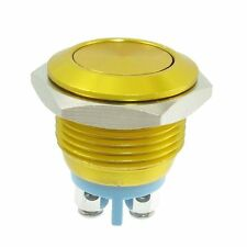 16mm GOLD Anti-Vandal Momentary Stainless Steel Metal Push Button Switch Flat
