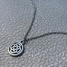 Long Silver Pewter Celtic Knot Charm Necklace 24 Inch Stainless Steel Chain