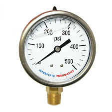 "Oil Filled Pressure Gauge 500 PSI 2-1/2"" Dial 1/4"" NPT Bottom Mount  G7022-500"