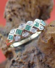 Top moderner Smaragd Diamant Ring in 585 Gelbgold