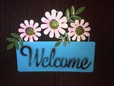 New listing Light Blue Welcome Plaque Garden Hanging Decoration With Pink Flowers