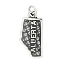 Sterling Silver Map of Alberta Canada Charm