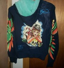 NWT ED HARDY HOODIE SWEATSHIRT PIRATE GIRL WOMENS SZ XS