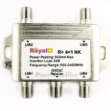 3pc Royal+  4X1 DISEQC SATELLITE SWITCH R+ 4x1 NK HEAVY DUTY 500mA Max LNB Input