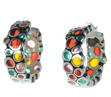 Menegatti Solid 925 Sterling Silver Multi-color Venetian Glass Hoop Earrings '