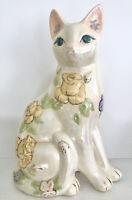 "Vtg CAT STATUE CERAMIC 11.5"" Figurine Floral Iridescent Glaze"