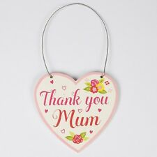 """Sass & Belle Mini Pink Floral """"Thank you Mum"""" Heart Hanging Decoration 7x7cm"""