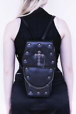 GOTHX BLACK COFFIN METAL CROSS Steam Punk Rock Goth Backpack Vegan Handbag Bag