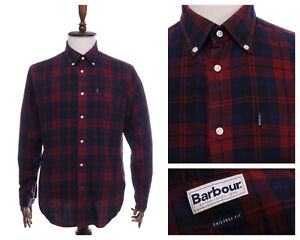 Men's BARBOUR Red Navy Check Tailored Fit Flannel Shirt Size L