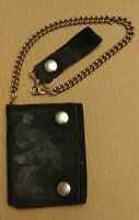 EUC Black leather tri-fold wallet and chain motocross off-road motorcycle racing