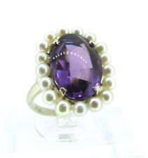 8-10 ct AMETHYST Cabochon Cut 14k White Gold Pearls Antique Elegant Ring Sz 6.5