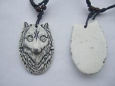 1pcs White Yak Bone Powder Resin Wolf Face Head Pendant Necklace