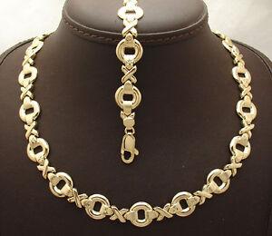Bold Hugs & Kisses Bracelet Necklace Set 14K Yellow Gold Clad Silver 925