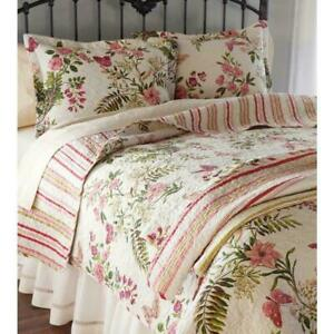 NEW! ~ COZY CHIC SHABBY VINTAGE IVORY LEAF RED PINK ROSE GREEN SOFT QUILT SET