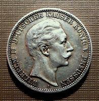GERMANY - KINGDOM OF PRUSSIA- 1910 A - 3 MARKS KAISER WILHELM II  KM#527  HOTC