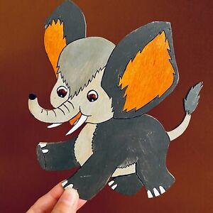 🚬 LAUBSÄGEARBEIT 1970er Graupner Graubele: Kleiner Elefant 18cm SHABBY CHIC Süß