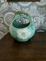Antique Weller Pottery Vase Green & White Flowers Handled, Top Circle Opening 6""