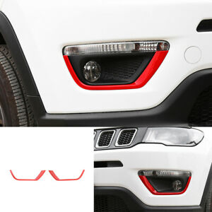 ABS Red front bumper fog light lamp strip trim 2pcs For Jeep compass 2017-2020