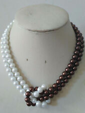 Beautiful 8mm White & Brown 2 Rows South Sea Shell Pearl necklace 20inch JN1998