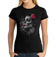 Velocitee Ladies T-Shirt Pretty Day Of The Dead Girl Dia De Los Muertos A20455