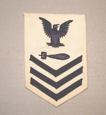 WW2 1944 U.S NAVY 1ST CLASS PETTY OFFICER TORPEDOMAN'S MATE RATE WHITE PATCH