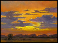 Jeff Love Art Original Oil Painting Bright Clouds Sunset Southwestern Landscape