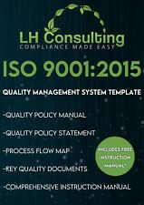 ISO 9001 2015 Quality Management System Template. Includes Instruction Manual.