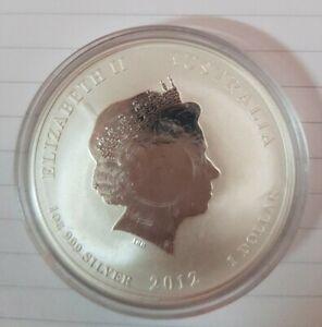 2012 Australian $1 DRAGON 1 OZ 999 Silver Lunar Coin
