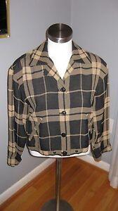 Emanuel Ungaro Petite Short Jacket Checkered Beige / Grey - size 2/36 fits 6 / 8
