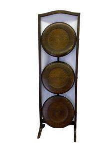 "Vintage 3 Tier Folding Cake Stand Shelf Shelves Oak Wood Tea Serving Tray 33"""