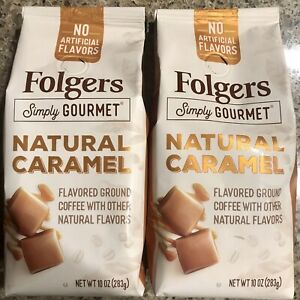 2 Pack Folgers Simply Gourmet Natural Caramel Flavored Ground Coffee 10 Oz Each