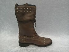 LEATHER STUDDED BIKER BOOTS BY CONDEMNED NATION  NEW. SIZE 5 Rrp £90