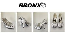 Ladies Shoes By Bronx Heeled White Black Size5 New Free Delivery