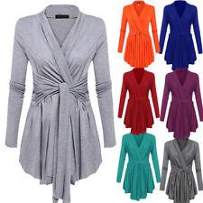 Womens Pullover Wrap Long Sleeve Waist Tie Casual Tops Ladies Jacket Outwear